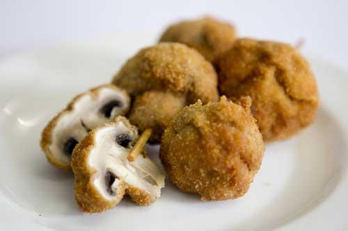 Crumbed Mushroom Kebabs