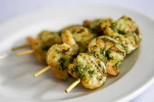 Grilled Tiger Prawn and Basil Pesto Kebab